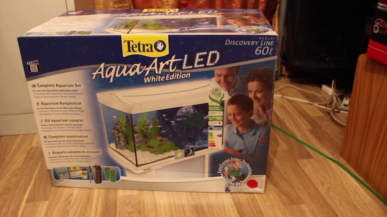 tetra aquaart aquarium complete set 60l white unboxing. Black Bedroom Furniture Sets. Home Design Ideas