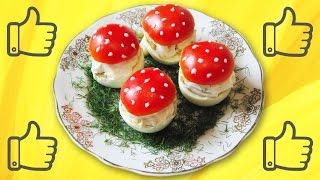 Необычный рецепт грибочков из фаршированных яиц и помидор
