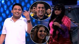 Salman Khan Enjoying Comedians Bharti And Kapil Sharma Comedy Encounter at CCL Show