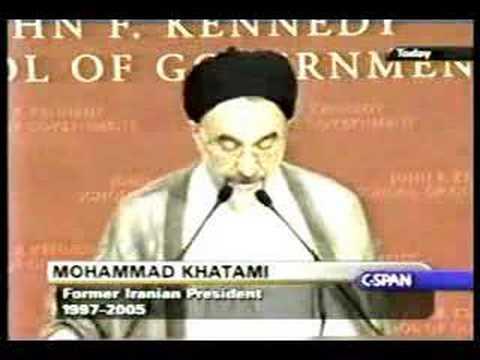 Khatami speaks English at Harvard