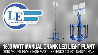 1600 watt manual crank led light plant skid mount five stage mast extends to 30 daisy chain