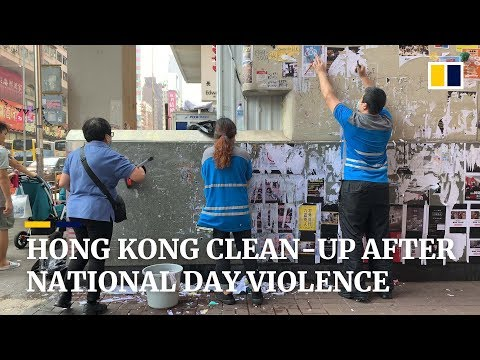Hong Kong cleans up trail of destruction left from violent protests on China's National Day