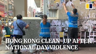 hong-kong-cleans-up-trail-of-destruction-left-from-violent-protests-on-china-s-national-day