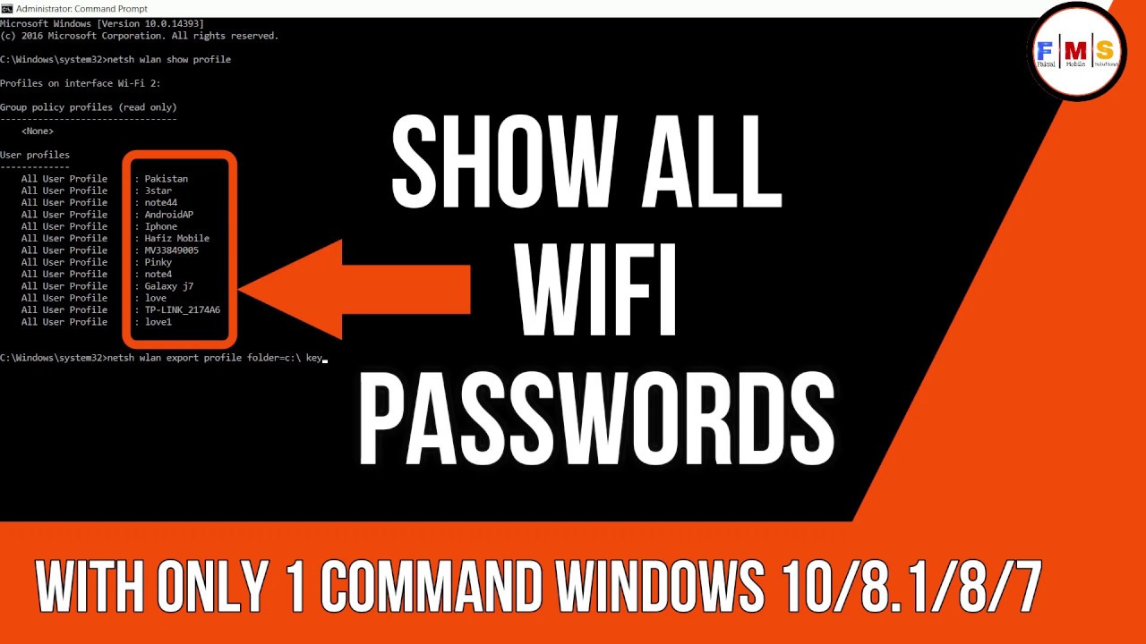 Find All WiFi Passwords With Only One Command ||Windows 10 ...
