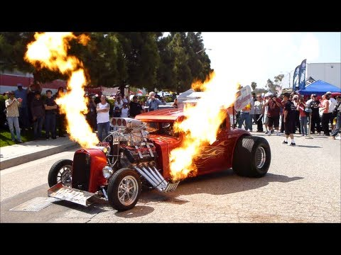 Monster Hot Rod Wild Thang Shooting Flames Loud Engine Sound And Rev Extreme Automotive Prolong