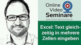 Excel: Text in mehreren Zellen gleichzeitig eingeben