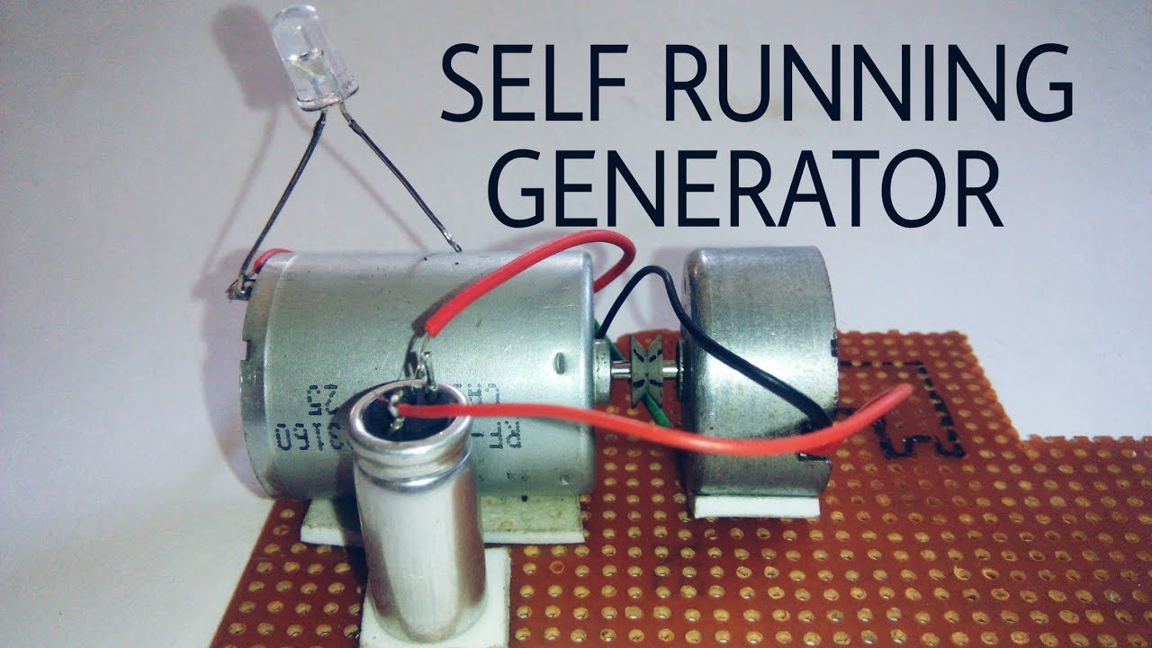 Free Energy Self Running Generator Using Dc Motor And Capacitor