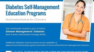 This 13-minute multimedia module for clinicians reviews various types of evidence-based diabetes self-management education (dsme) programs available the ...
