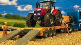 कमाल ट्रैक्टर ट्रक परिवहन, निर्माण साइट Bruder खिलौने एक्शन!