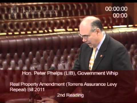 Peter Phelps on the Real Property Amendment (Torrens Assurance Levy Appeal) Bill 2011