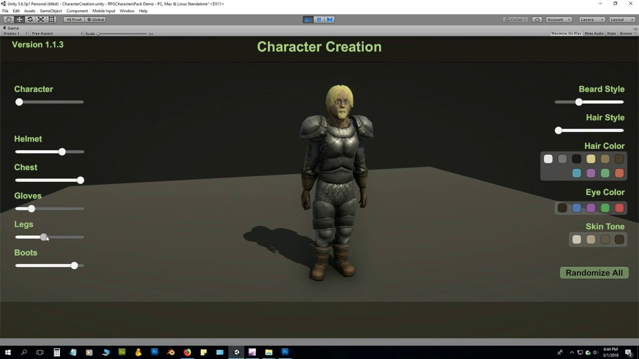 Unity Asset Store Pack - RPG Character Creation Pack (Download link below)