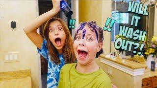 PURPLE HAIR DYE SHAMPOO PRANK ON MY SISTER!!