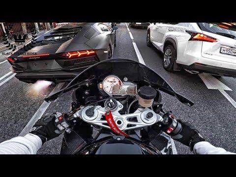 LAMBORGHINI AVENTADOR (740HP) vs BMW S1000RR (267km/h)