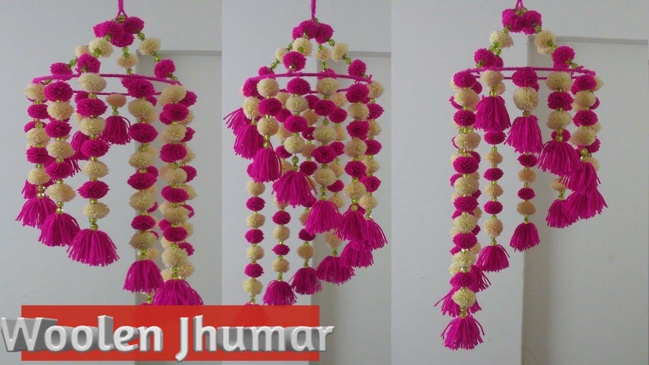 Woolen Jhumar Wind Chime Wall Hanging Using Pom Pom