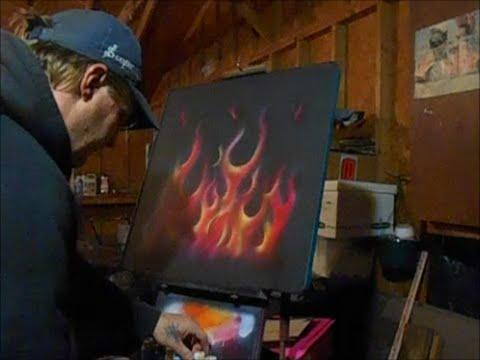 FLAMES WITH TESTORS AZTEK PAINTS, airbrushing flames