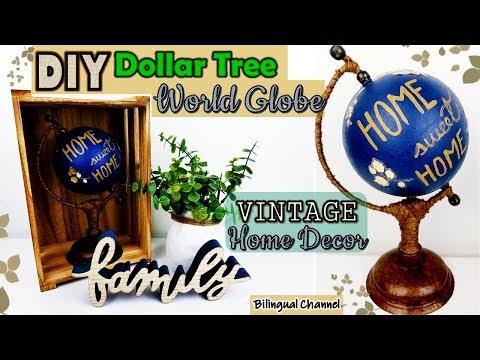 Dollar Tree DIY | Rustic Home Decor Ideas | World Globe DIY