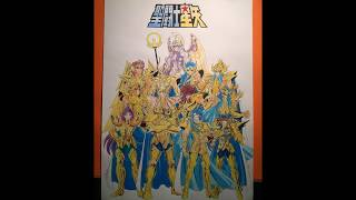 Time Lapse Drawing : Athena + Gold Saints (Saint Seiya)