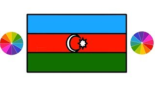 The Flag of Azerbaijan || How to Drawing colors Step by Step for Kids || Azerbaijani Flag Draw Color