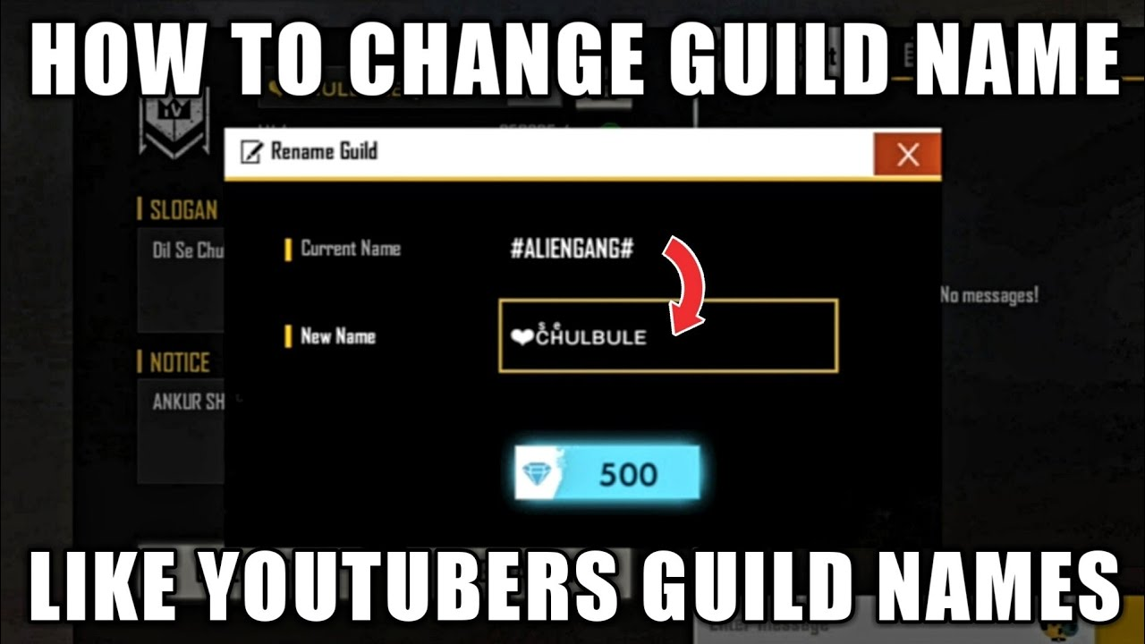 How To Change Your Guild Name Exactly like YouTuber's Guild Names? || Free Fire Tips & Tricks