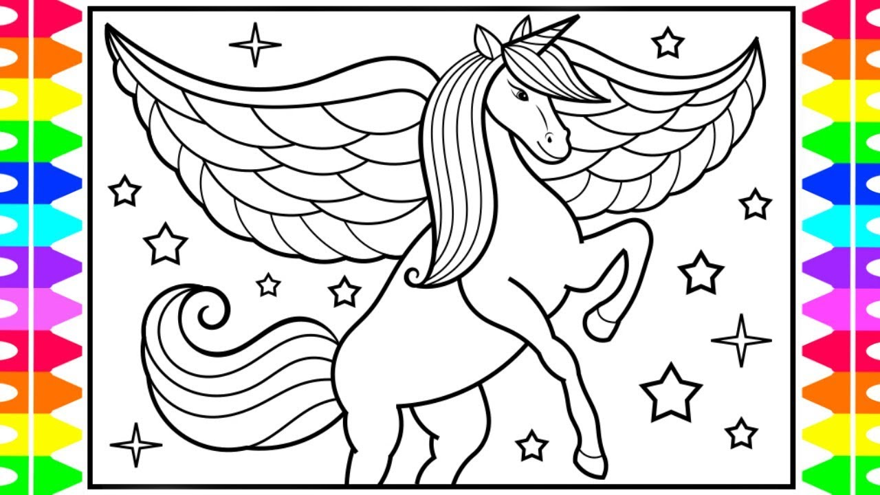How To Draw A Unicorn With Wings For Kids Unicorn With Wings Drawing And Coloring Pages Youtube
