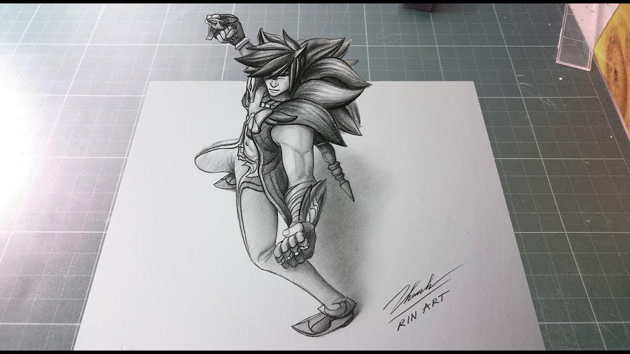 vẽ 3d Sett trên giấy – Rin Art