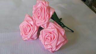 cara membuat bunga mawar dari pita satin