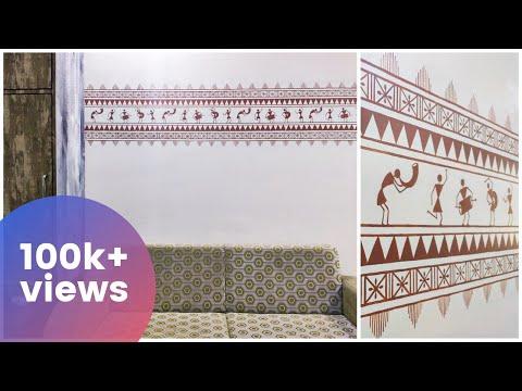 easy-wall-painting-diy-l-living-room-wall-painting-ideas-i-modern-warli-wall-art