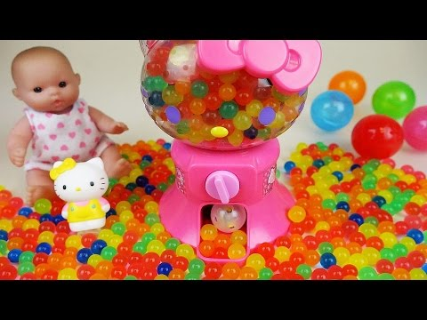 Hello Kitty Surprise egg machine and baby doll orbeez and Kinder joy toys play