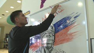 "Janitor inspires student with ""dry erase"" works of art"