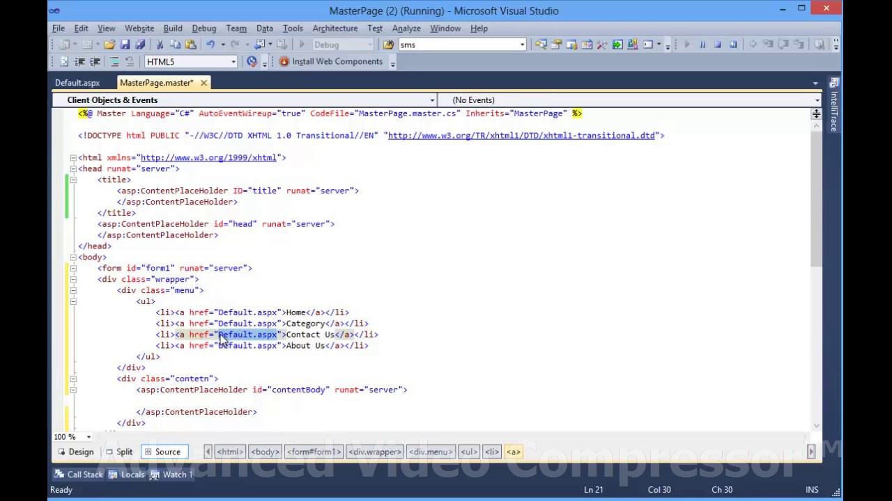 How To Create Master Page In Asp Net In Visual Studio