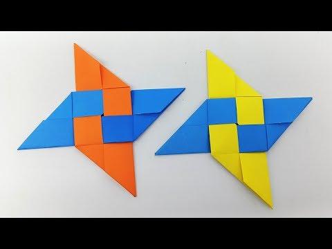 Paper Ninja Star (Shuriken) - How To Make Colorful Ninja Star With Paper