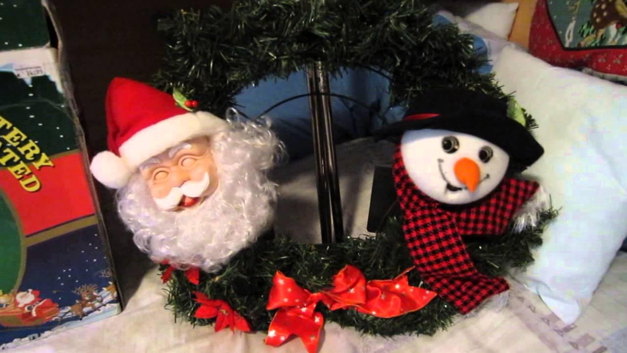 singing christmas wreath 2 snowman and santa youtube - Santa Snowman 2