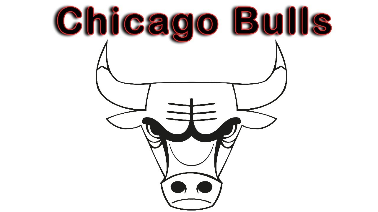 Chicago Bulls Logo Drawing Easy  How to Draw Bulls Logo  Chicago Logo  Outline