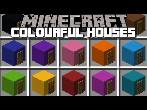 Minecraft COLOURFUL HOUSE MOD / SPAWN INSTANT STRUCTURES THAT ARE COLOURFUL !! Minecraft