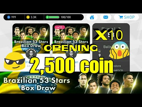 Brazilian 53 Stars Box Draw Opening Pack 2500 coin  PES 2018 Mobile