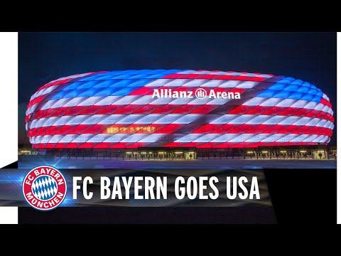 FC Bayern goes USA - Allianz Arena leuchtet in Rot, Weiß und Blau