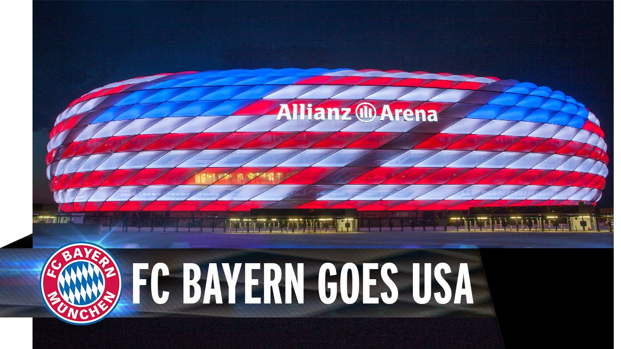 fc bayern goes usa allianz arena leuchtet in rot wei. Black Bedroom Furniture Sets. Home Design Ideas