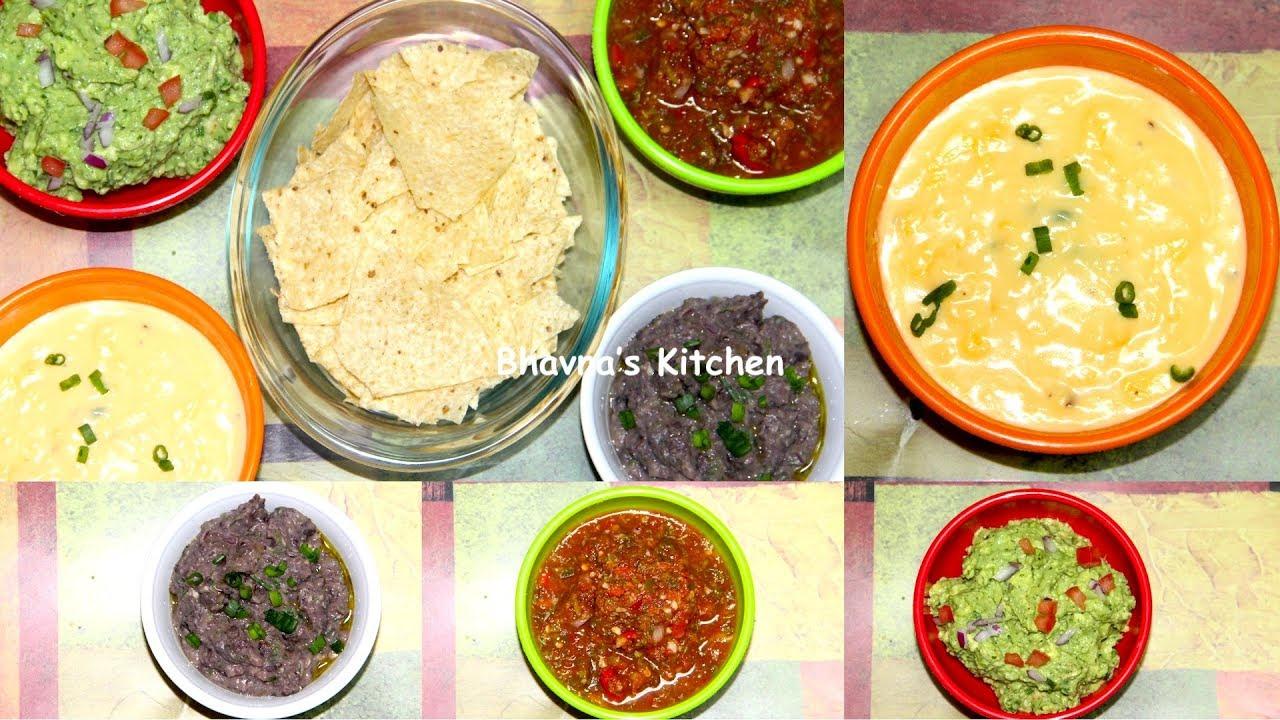Party Picnic Vegan Cheese Dip, Black Bean Dip, Guacamole & Salsa Video Recipe | Bhavna's Kitchen