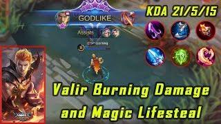 Valir Burning Damage and Magic Lifesteal | Mobile Legends - Valir 21 Kills