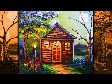 Night Scene Acrylic Landscape Painting House during Full Moon | ACRYLIC PAINTING LESSON FOR BEGINNER