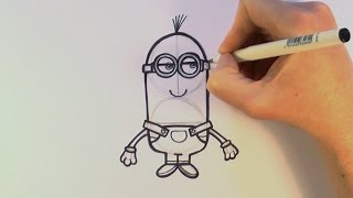 How to Draw a Cartoon Kevin From The Minions Movie - zooshii Style