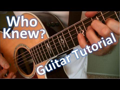 Who Knew -- P!nk -- Guitar Tutorial
