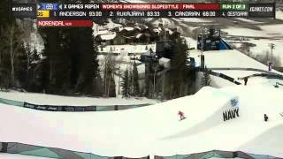 X Games Aspen 2013 Silje Norendal Run 2 Women s Snowboard Slopestyle final