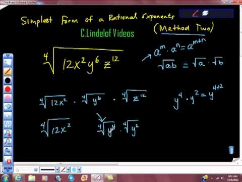simplest form exponents  Simplest Form of a Rational Exponent Method Two