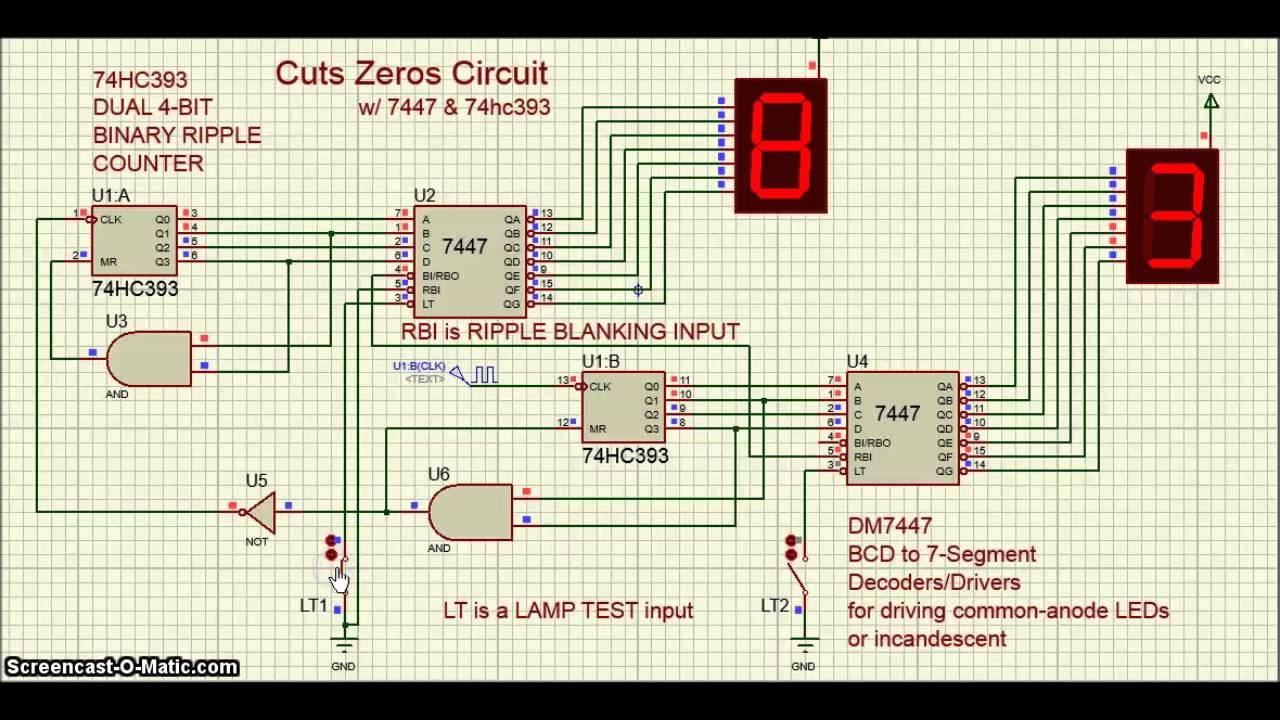proteus ic 7447 ic 74hc393 cuts zeros circuit [ 1280 x 720 Pixel ]