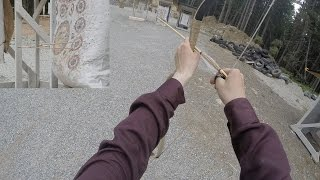 A first attempt at Mongolian style archery (thumb draw)