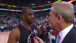 cp3 chris paul gives his jersey to a kid