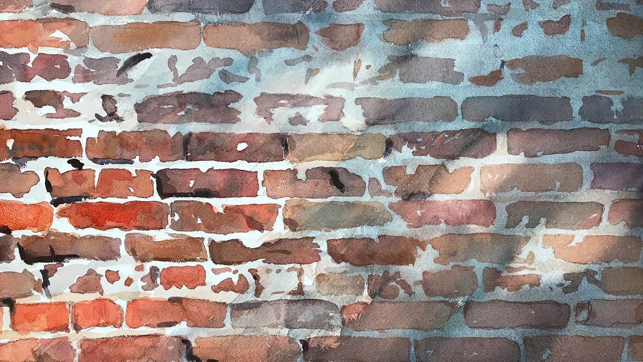Watercolor Live Lesson - Old Brick Wall with Shadow - YouTube
