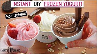 1 Minute, 3 Ingredient FROZEN YOGURT! *Instant* FroYo ICE CREAM RECIPE