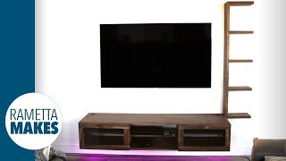 How to Build a TV Wall Unit - With LEDs and Built-In Wireless Charger // DIY